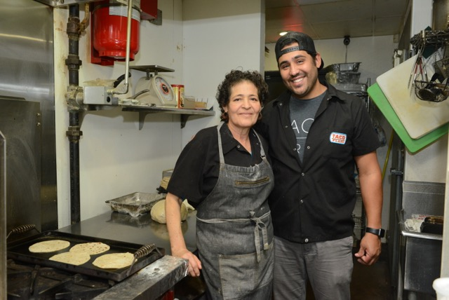 Simon Madera Owner/Operator of Taco Flats and his mother Esther