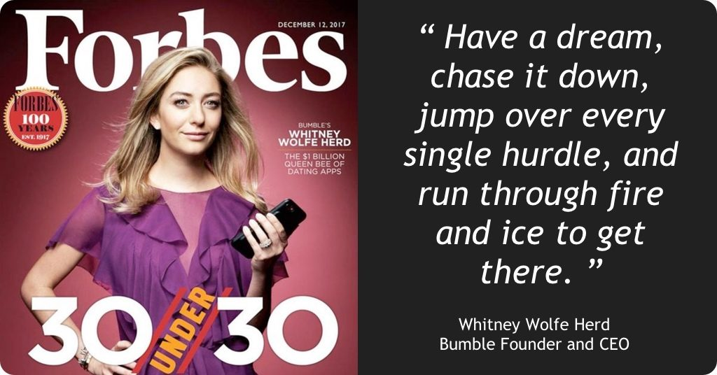 """#STOUTSHOUT: Bumble Founder Whitney Wolfe Herd makes Forbes' """"30 Under 30"""" – and bags a unicorn"""