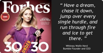 "#STOUTSHOUT: Bumble Founder Whitney Wolfe Herd makes Forbes' ""30 Under 30"" – and bags a unicorn"