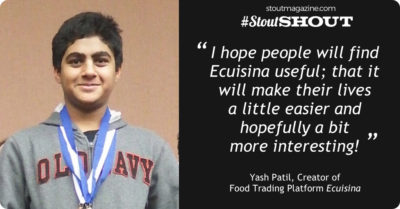 #StoutShout To Young Innovator Yash Patil, Creator of Food Trading Platform Ecuisina