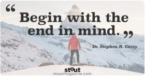 Stout Motivational Monday Plan Begin With End In Mind Stephen Covey