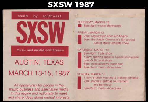 Founded in 1987 in Austin, Texas, SXSW has definitely grown from its humble beginnings.</strong><br>(Original festival schedule from 1987 courtesy of SXSW)